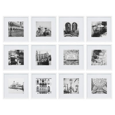 "(12pc)12"" x 12"" Matted To 8"" x 8"" Frame Set White - Gallery Perfect"