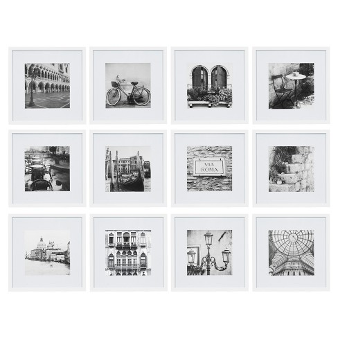 "12 Piece 12X12 White Frame Kit, Matted To 8""X8"" - Gallery Perfect - image 1 of 7"