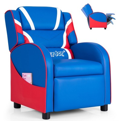 Kids Recliner Chair Gaming Sofa PU Leather Armchair w/Side Pockets Pink\Blue