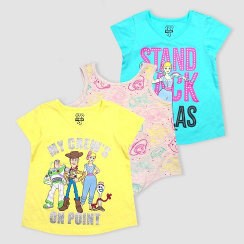 Toddler Girls' Disney Toy Story Short Sleeve T-Shirt - Yellow/Pink/Blue - image 1 of 4