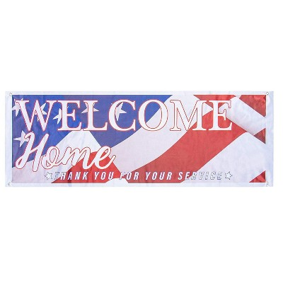 """Welcome Home Deployment Banner US Flag Decoration for Military Soldier 62"""" x 22"""""""