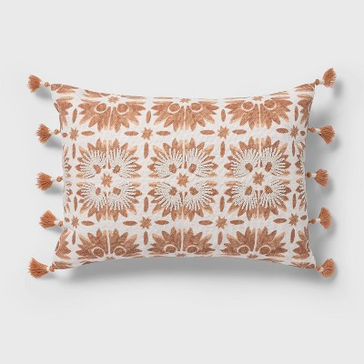 Oblong Block Print Tassel Decorative Throw Pillow Warm Blush - Threshold™