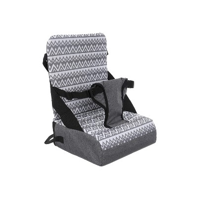 Dreambaby L6030 Grab 'N Go Booster Seat with 3 Point Harness, Storage Compartments, and Shoulder Carrying Strap For Toddler Sitting and Dining, Gray
