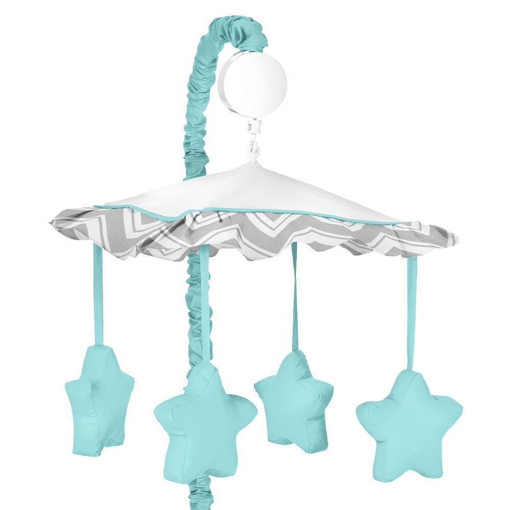 Sweet JoJo Designs Zig Zag Musical Crib Mobile - Blue Stars, Turquoise