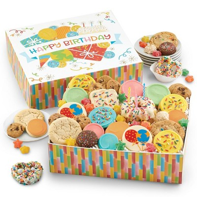 Cheryl's Cookies Birthday in a Box Cookie and Bakery Gift Set with Birthday Cake and candles (37 pieces)