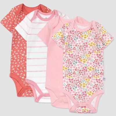 Honest Baby Girls' 4pk Organic Cotton Meadow Floral Short Sleeve Bodysuit - Pink/White 0-3M