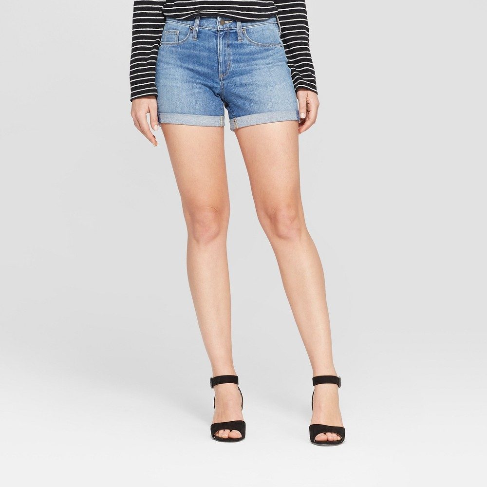 Women's High-Rise Double Cuff Hem Midi Jean Shorts - Universal Thread Medium Wash 16, Blue