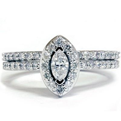 Pompeii3 7/8ct Marquise Diamond Wedding Ring Set 14K Gold