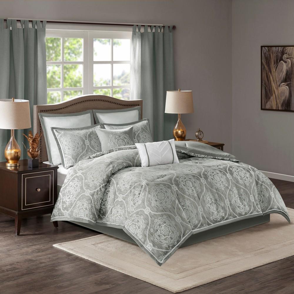 8pc California King Lanford Jacquard Comforter Set Silver