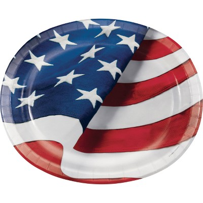 Freedoms Flag 10  x 12  Oval Platters - 8ct