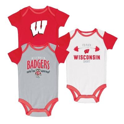 NCAA Baby Boys' 3pk Bodysuit Wisconsin Badgers - 3-6M