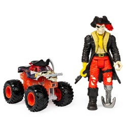 """Monster Jam Official Pirate's Curse 1:64 Scale Monster Truck and 5"""" Captain Black Creatures Action Figure Set"""