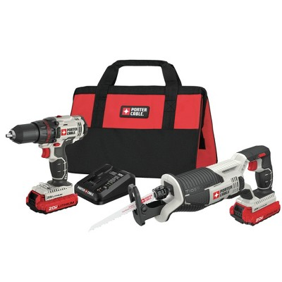 Porter-Cable PCCK603L2 20V MAX Cordless Lithium-Ion Drill Driver and Reciprocating Saw Combo Kit