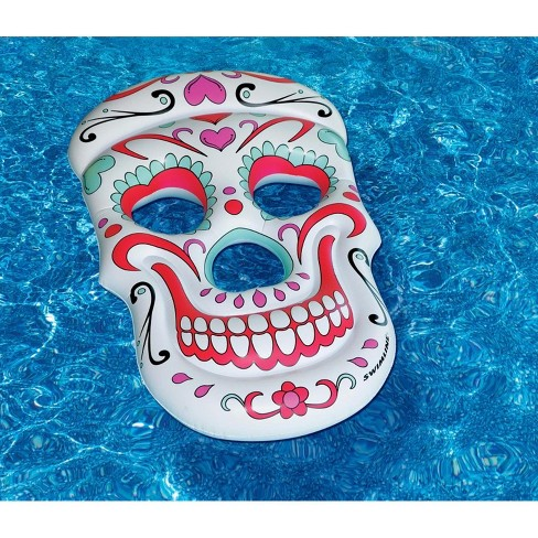 "Swim Central 62"" Sugar Skull Inflatable Novelty Swimming Pool Float - White/Pink - image 1 of 2"