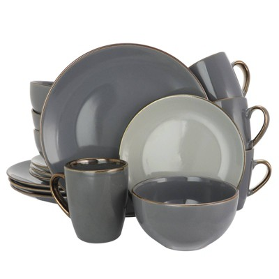 16pc Stoneware Solid Stone Dinnerware Set Gray - Elama