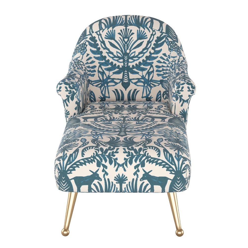Comfrey Chaise Lounge with Brass Legs Teal/Cream Animal Print (Blue/Cream Animal Print) - Opalhouse
