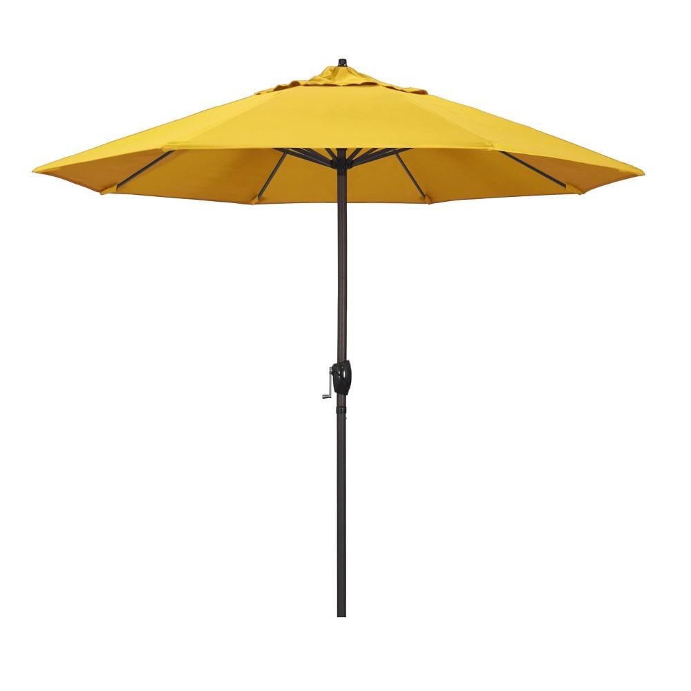 9 Aluminum Auto Tilt Crank Lift Patio Umbrella Lemon