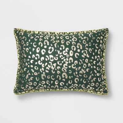 Metallic Foil Animal Print Lumbar Throw Pillow Orange   Opalhouse by Opalhouse