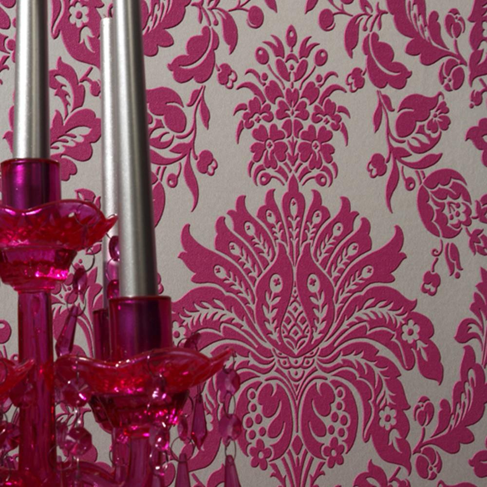 Elizabeth Double-Roll Wallpaper - Pink/Silver