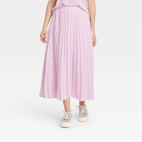 Women S Midi Pleated A Line Skirt A New Day Light Pink XXL
