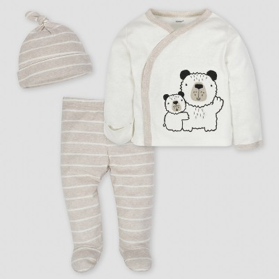 Gerber Baby Boys' Bear 3pc Side-Snap Shirt, Footed Pants and Cap Set - Oatmeal 3-6M