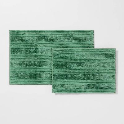 2pk Chenille Bath Rug Set Green - Room Essentials™