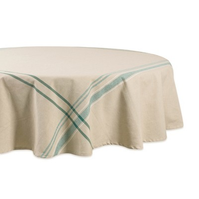 70 R Nautical French Stripe Tablecloth Teal - Design Imports