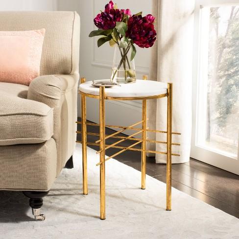 Jenesis Round Accent Table White Marblegold Safavieh Target