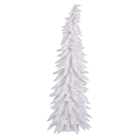 5ft Pre-Lit Artificial Christmas Tree Slim White - Clear Lights - image 1 of 1