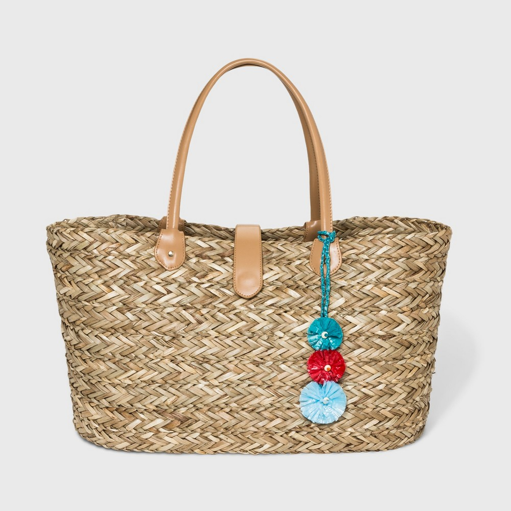 Large Straw Tote Handbag - A New Day Brown, Women's