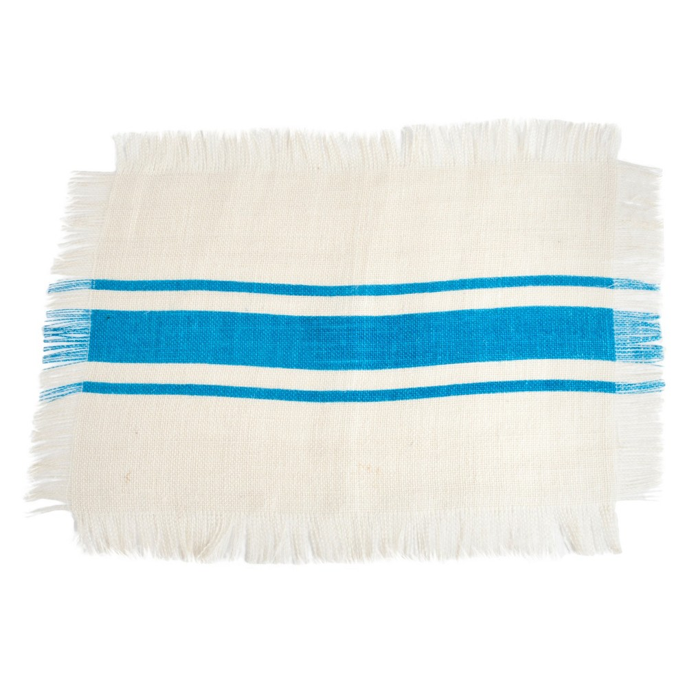 Striped Design Jute Placemats Turquoise Set Of 4