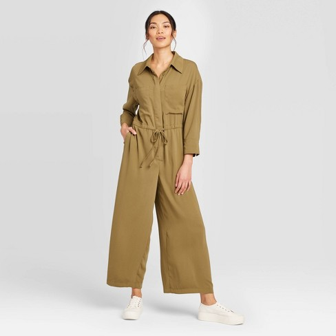 Women's Long Sleeve Collared Wide Leg Jumpsuit - Prologue™ Olive XXL - image 1 of 3