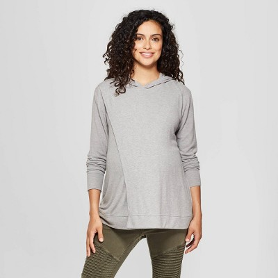 Maternity Nursing Hooded Swing Sweatshirt - Isabel Maternity by Ingrid & Isabel™ Gray M