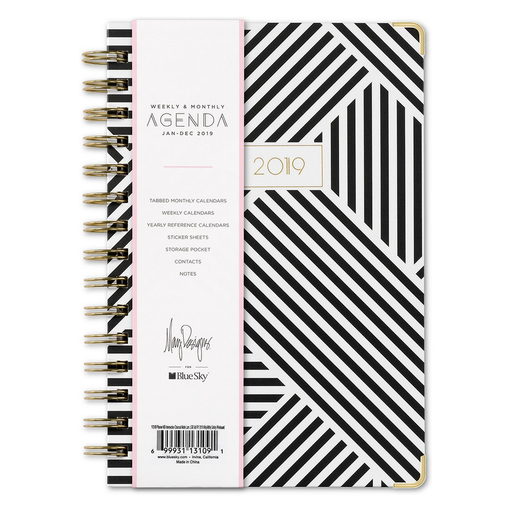 2019 Planner 9.25x 7.125 Black & White Pattern - Blue Sky, Rich Charcoal
