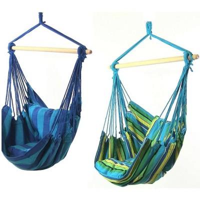 2 Hammock Chair Swings with Pillows - Ocean Breeze/Oasis - Sunnydaze Decor