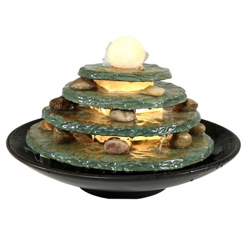 """8""""H Slate Round Multi-Level Indoor Tabletop Water Fountain with LED Light - Sunnydaze Decor - image 1 of 6"""