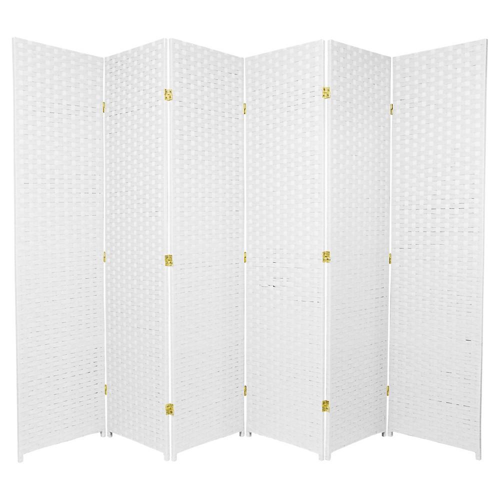 6 ft. Tall Woven Fiber Room Divider - White (6 Panels), Dove White