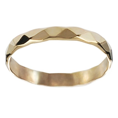 Women's Journee Collection Handcrafted Faceted Band in Sterling Silver - Gold - image 1 of 2