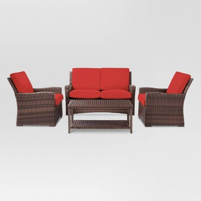 Halsted 4pc Wicker Patio Conversation Set - Red - Threshold™