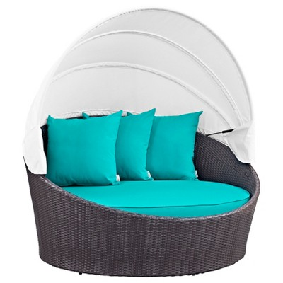 Convene Canopy Outdoor Patio Daybed - Espresso/Turquoise - Modway