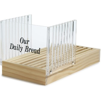 Norpro Wooden Kitchen Countertop Sourdough Bread Bagel Slicer with Clear Acrylic Slice Guider & Crumb Catcher Tray, Brown