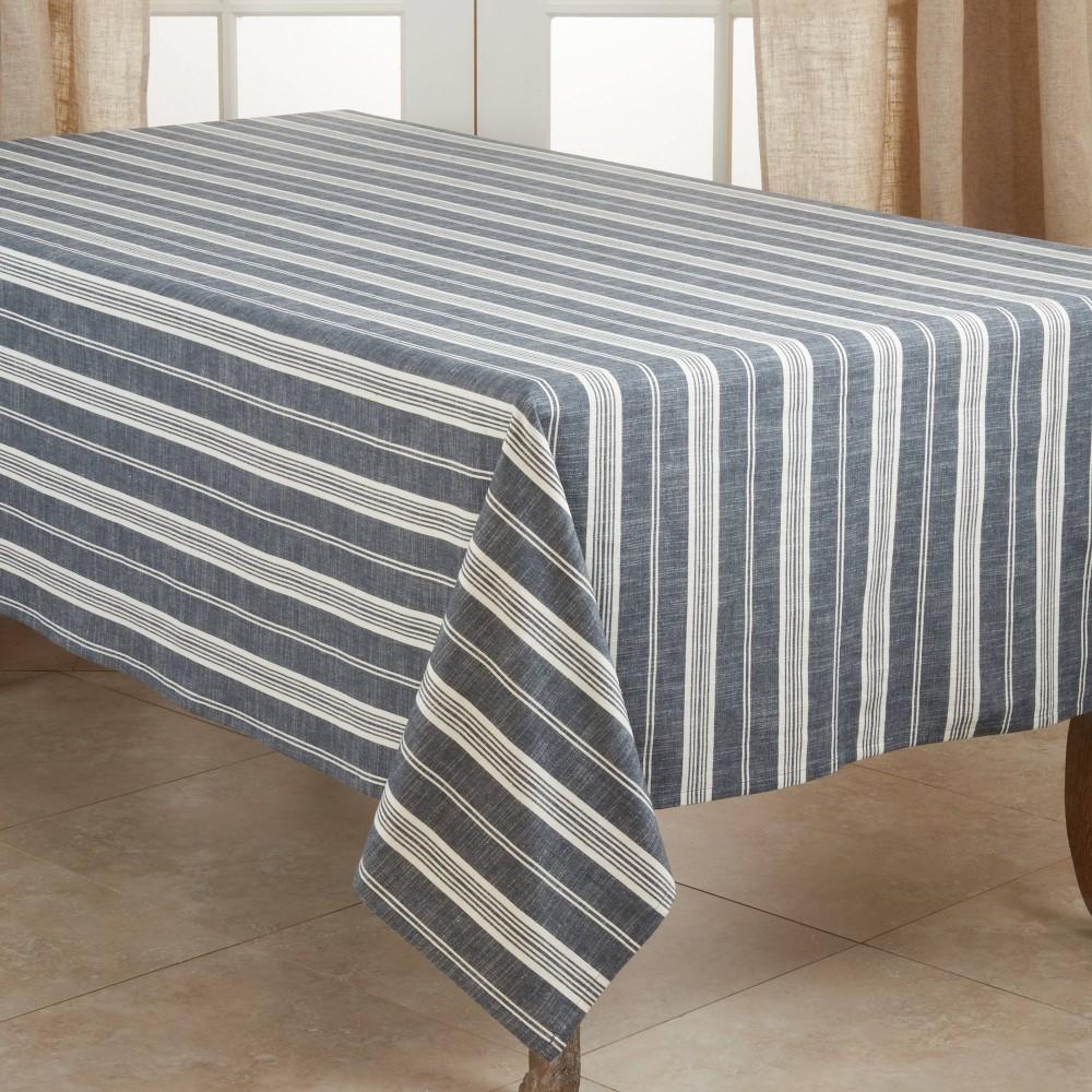"Image of ""104"""" x 65"""" Cotton Striped Tablecloth Blue - Saro Lifestyle"""