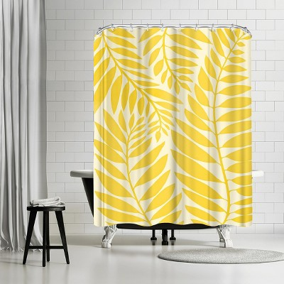 "Americanflat Golden Yellow Leaves  by Modern Tropical 71"" x 74"" Shower Curtain"