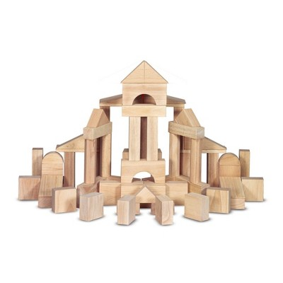 Melissa & Doug Standard Unit Solid-Wood Building Blocks With Wooden Storage Tray (60pc)