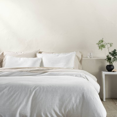 Full/Queen Heavyweight Linen Blend Duvet Cover & Sham Set White - Casaluna™