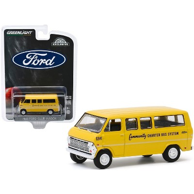 """1968 Ford Club Wagon School Bus Yellow """"Community Charter Bus System"""" """"Hobby Exclusive"""" 1/64 Diecast Model by Greenlight"""