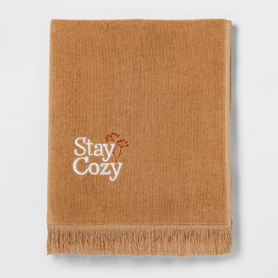 Terry Stay Cozy Embroidered Hand Towel Yellow - Threshold™