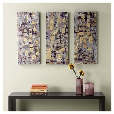 "(Set of 3) 15"" x 35"" Gilded Violet Gel Coat Printed Canvas Purple"