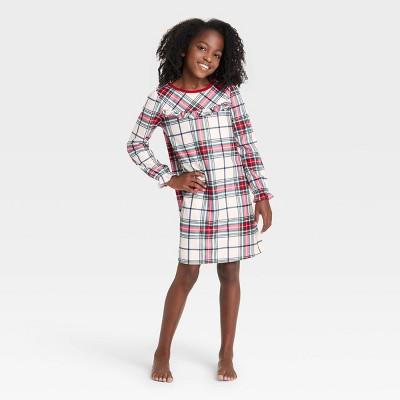Kids' Holiday Plaid Flannel Matching Family Pajamas NightGown - Wondershop™ White