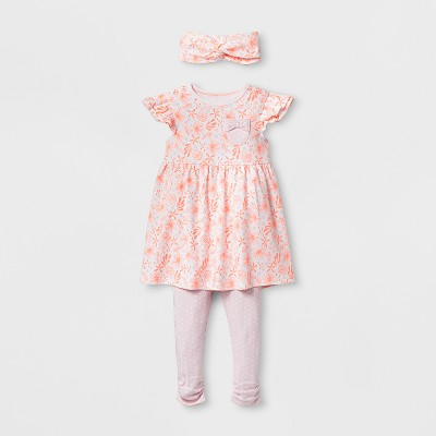 Baby Girls' 3pc Rainbow Fluttler Sleeve Dress Set - Cloud Island™ Coral 12M